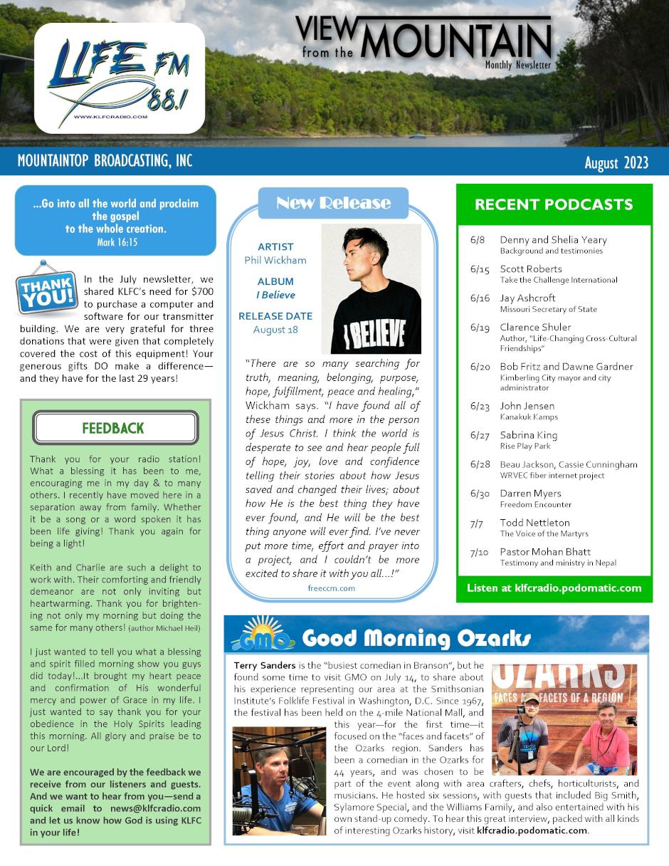 Newsletter   KLFC Radio